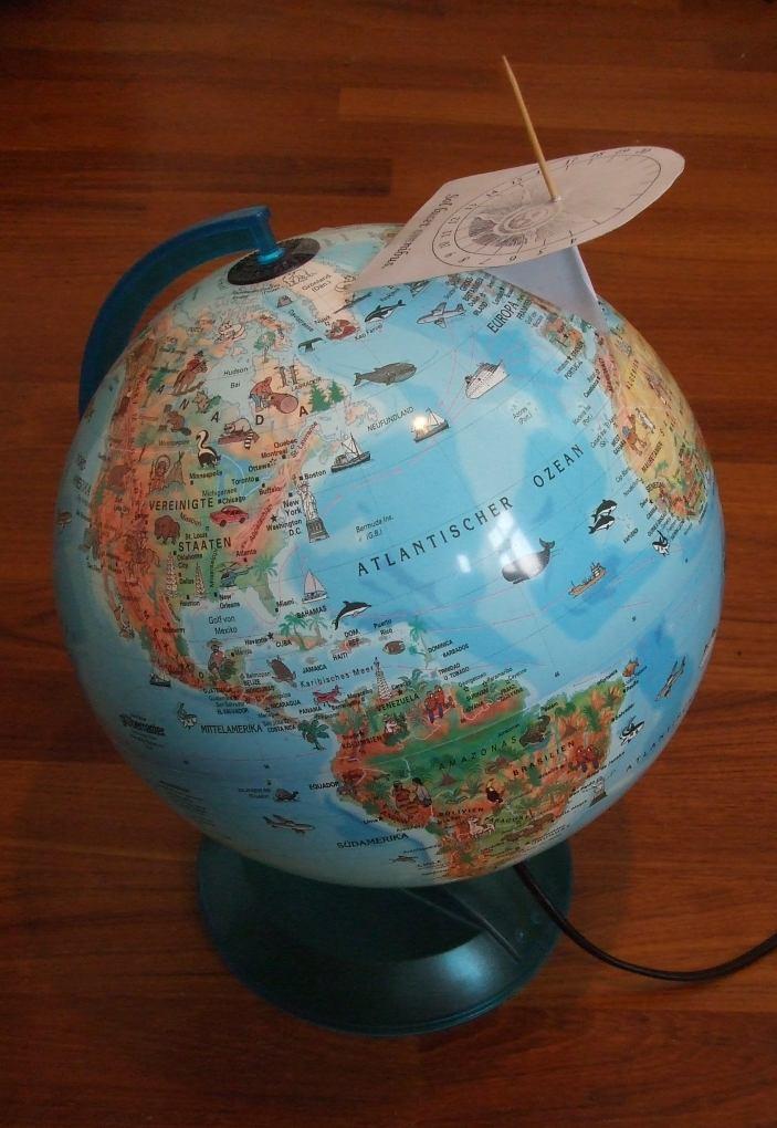 Äquatorebene, der Lichtzeiger (Gnomon) parallel zur Erdachse liegt